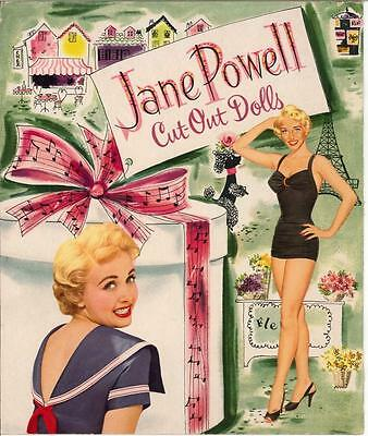 Vintage Uncut 1957 Jane Powell Paper Dolls Set  ~Hd Laser Reproduction~Lo Pr