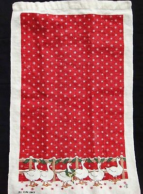 Linen Tea Towel Christmas Country Geese Red with White Snowflakes