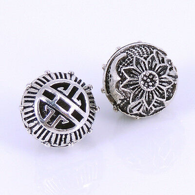 S925 Sterling Silver 13x12mm Vintage Lotus Double-sided Lucky Bead Charm WSP263