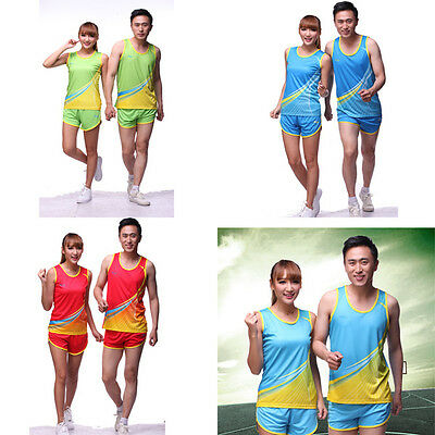 Man Women Athletic Workout Fitness Gym Run Jersey T-shirt +Shorts Sports Outfit