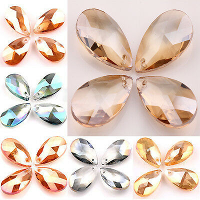 Hot 5/20PCS Faceted Czech Crystal Large Waterdrop Loose Spacer Beads 22x13x7mm