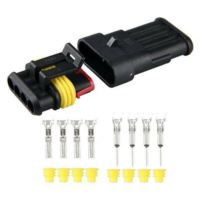 5 Kits 4 Pin Way Waterproof Wire Connector Plug Car Auto Sealed Electrical Set