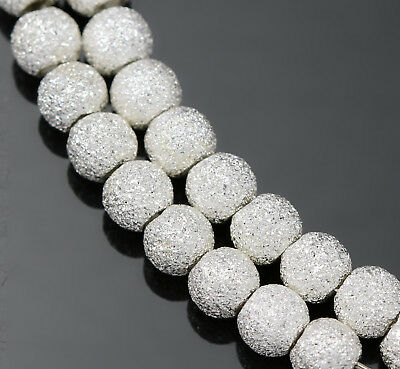 Genuine 925 Sterling Silver Stardust Round Beads Spacers  3mm 4mm 5mm 6mm