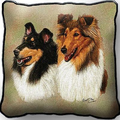 """17"""" x 17"""" Pillow - Collie Pair by Robert May 1160"""