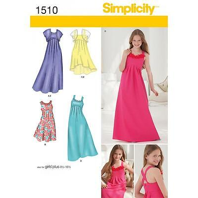 Simplicity Sewing Pattern Girls' Special Occasion Dress 3 Len Sizes 8 - 16½ 1510