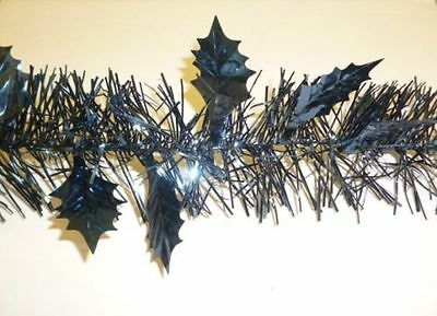 2.4 Metre Length (8FT) Holly Leaf Tinsel Garland In Dark Blue (PM33)