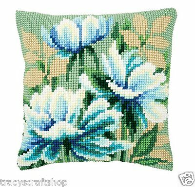 Japanese Anemones Chunky Cross Stitch Cushion Front kit 40x40cm By Vervaco