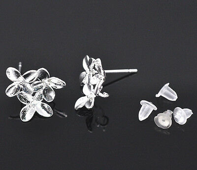 5 Pairs SP Flower Earring Post W/Stoppers&Loop 15x14mm