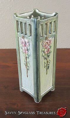 Weller Arts & Crafts Green Tall Square Klyro with Fence Pottery Vase