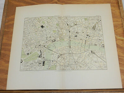 1881 Antique COLOR Map/CENTRAL LONDON, ENGLAND