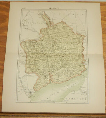 1883 Antique COLOR Map/MONMOUTH, ENGLAND