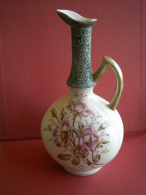 Antique Austrian Pitcher/Ewer  Hand Painted China Multi Color Floral Poppies