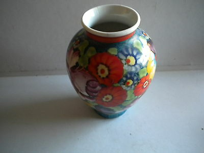 Vintage Czech Vase Hand Painted Flowers Multi Color Peasent Art Pottery Kozlany