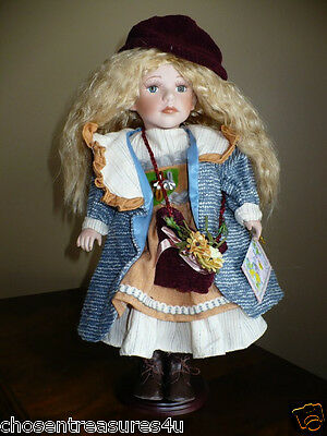 """16 IN.PORCELAIN DOLL SWEETHEART """"EMILY"""" GIRL COA Victorian style with purse"""