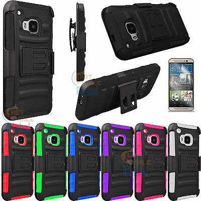 For HTC One M9 Armor Shockproof Defender Stand Hard Case Cover Holster + Film