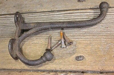 "6 1/2"" Coat large tack harness hook rusty vintage screws rustic texture old barn"