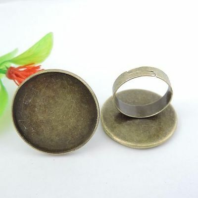 20PCS  Antique Bronze Iron Round Cameo Setting Charms Finger Ring Inner 25*25mm