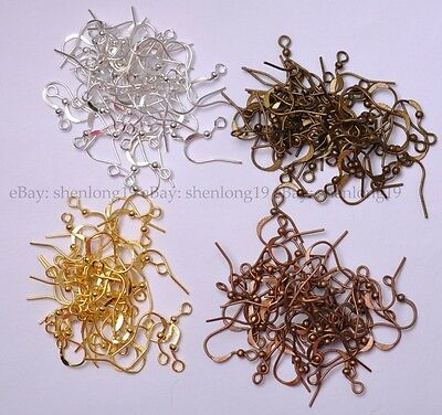 100pcs EARRING HOOK COIL EAR WIRE FOR JEWELRY Making Findings 17MM