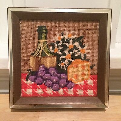 Vintage Framed Needlepoint Embroidery - Restaurant Tabletop Wine Grapes Flowers