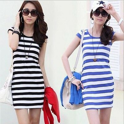 Summer Women's Casual Short Sleeve Striped Crew Neck Bodycon Silm Mini Dresses B