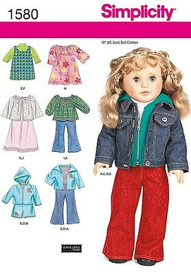 Simplicity Sewing Pattern 18 Inch (45.5Cm) Doll Clothes  1580