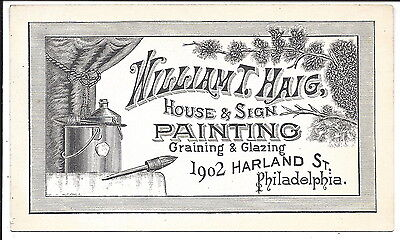 Excellent Illustrated Business Card, House & Sign Painter, c1870s
