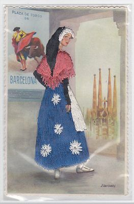 Woman in Blue & White Dress Briones Artist Signed Stitched Embroidered Postcard