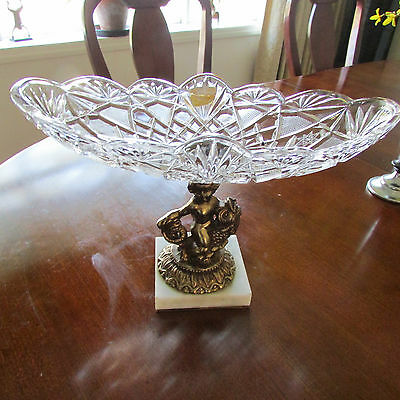 RARE Italian Brass Cherub, Marble Base & Oval Crystal Glass Compote Bowl