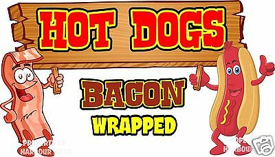 "Hot Dogs Bacon Wrapped Decal 14"" HotDogs Concession Food Truck Vinyl Sticker"
