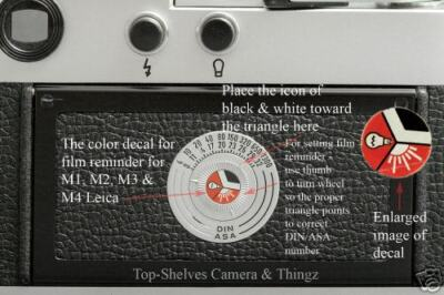 Leica M4,M3,M2,M1& IIIg Film Reminder Decal Replacement