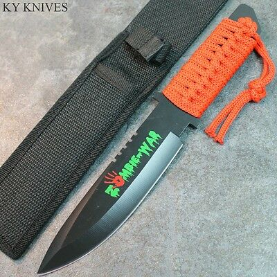 """11"""" Zombie War Full Tang Hunting Knife, Red Cord Wrapped Handle 7582 zix"""