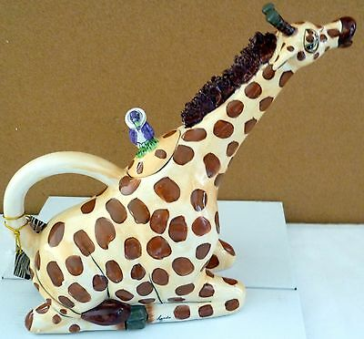 BLUE SKY CLAYWORKS GIRAFFE SHAPED CERAMIC COLLECTABLE TEAPOT MOTHERS DAY GIFT BN