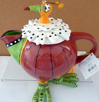"""BLUE SKY CLAYWORKS """"RORY TOUCAN"""" CERAMIC COLLECTABLE TEAPOT MOTHER'S DAY GIFT BN"""
