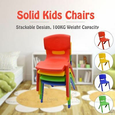 Set of 2 Brand New Kids Toddler Plastic Chair Yellow Blue Red Green Up to 100KG