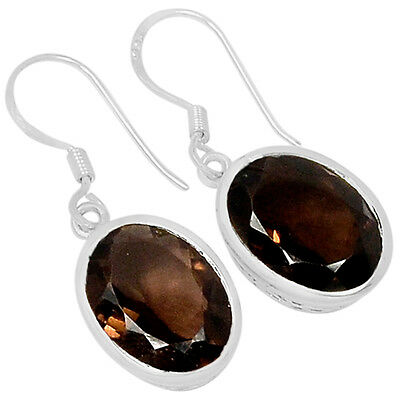 Smoky Quartz 925 Sterling Silver Earrings Jewelry E2107S