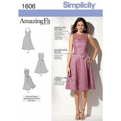 Simplicity Sewing Pattern Missses' Dress Amazing Fit  Size 6 - 22 1606