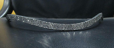 BLING*English Leather SPARKLY WAVE Browband*5-Row 2mm TINY GREY Crystals*4 Sizes