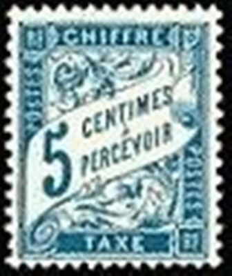 "FRANCE STAMP TIMBRE TAXE N° 28 "" TYPE DUVAL 5c BLEU "" NEUF x TB"