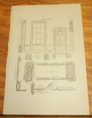 1875 Antique Print/BUILDING////WINDOWS AND DOORS