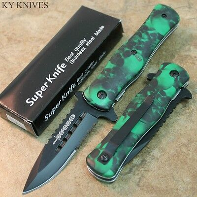 """8"""" ZOMBIE WAR Green Skull Spring Assisted Open Tactical Pocket Knife 7424 zix"""