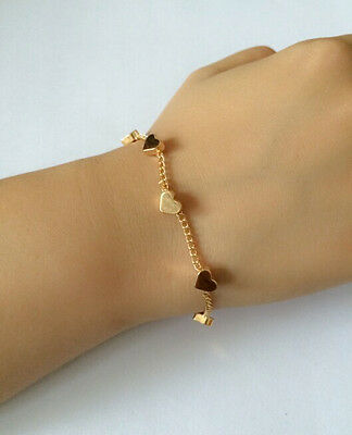 Girls Woman 2015 New Trendy Heart Gold Chain Charm Bracelet Bangle Hot Sale