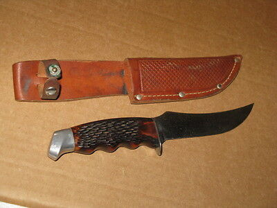SCHRADE WALDEN 148 9 INCH  Made in USA. STAG HANDLE HUNTING KNIFE