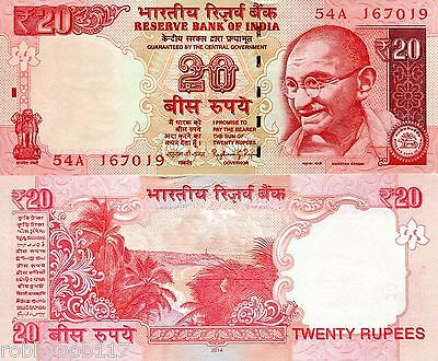 INDIA 20 Rupees Banknote World UNC Currency Money BILL Asia 2014 Note Gandhi