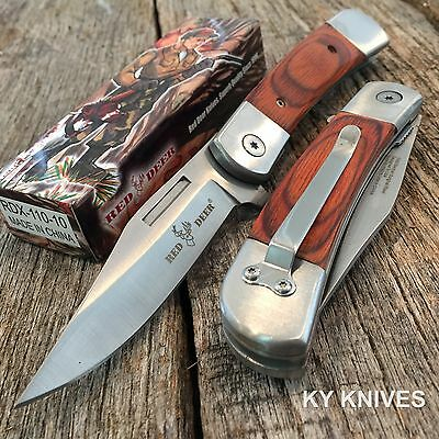 "8"" RED DEER Classic NEW Red Wood Spring Assisted Open Pocket Knife RDX110-10"
