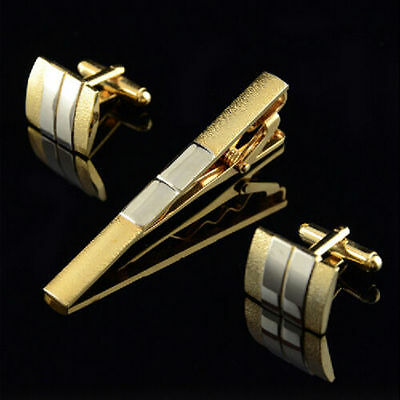 "Noble Matte Gold & Silver 2.4"" Necktie Tie Clasps Clip Cufflinks Set Formal Dres"
