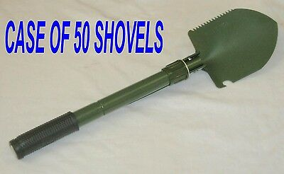 "case of 50 - Folding Military style 16"" Camp Shovel / Pick with pouch"