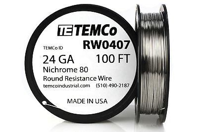 TEMCo Nichrome 80 series wire 24 Gauge 100 FT Resistance AWG ga