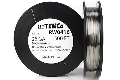 TEMCo Nichrome 80 series wire 26 Gauge 500 FT Resistance AWG ga
