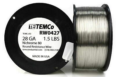 TEMCo Nichrome 80 series wire 28 Gauge 1.5 lb (3303ft) Resistance AWG ga