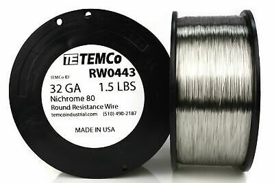 TEMCo Nichrome 80 series wire 32 Gauge 1.5 lb (8194.5ft) Resistance AWG ga